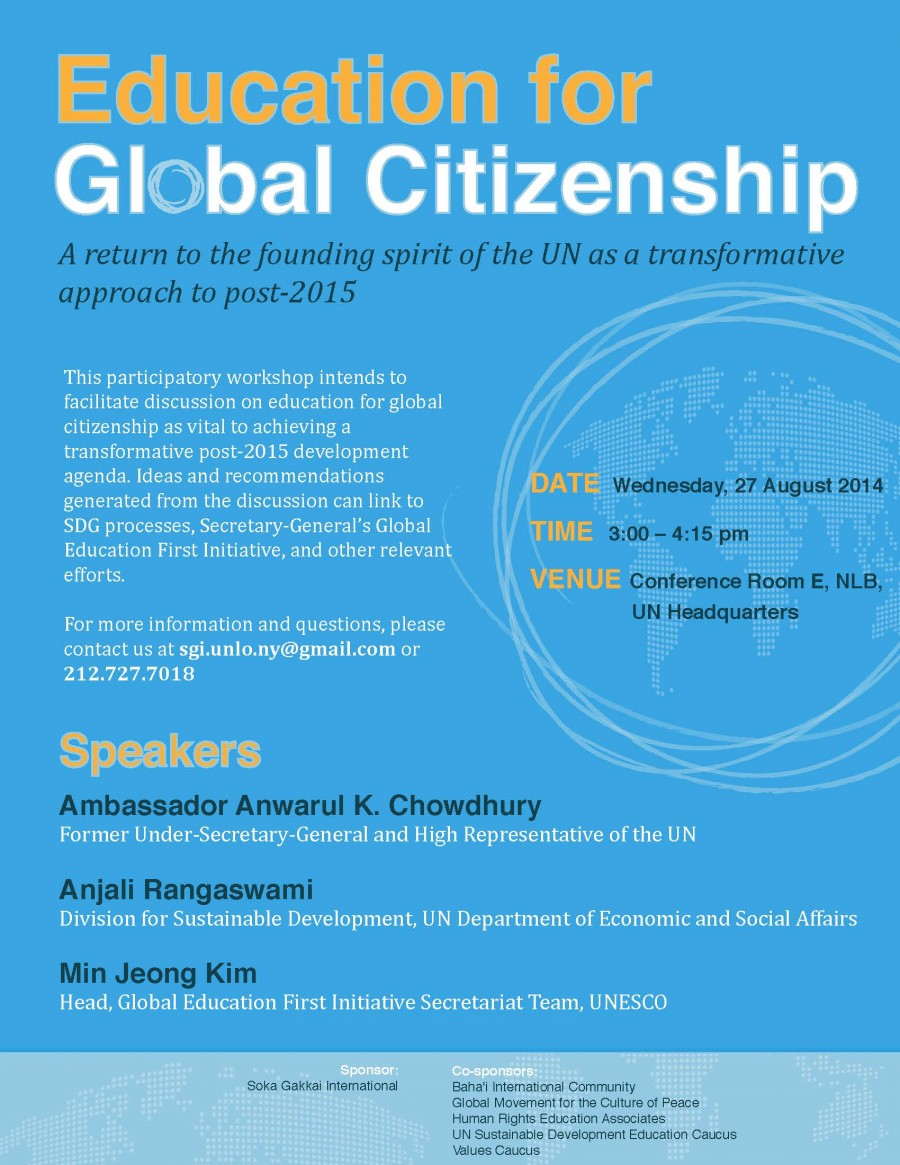 education for global citizenship Education for global citizenship is our goal for the future as it is essential in helping young people rise to those challenges.