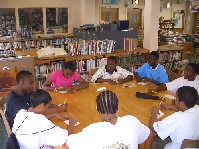 Students in the library of the School for Human Rights in Brooklyn